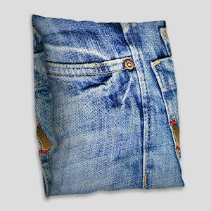 Denim Blue Jeans Burlap Throw Pillow