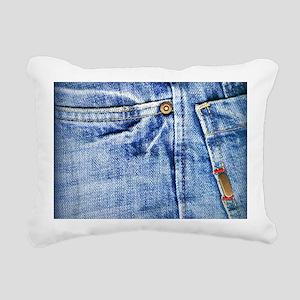 Denim Blue Jeans Rectangular Canvas Pillow
