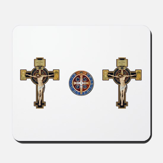 Benedictine Crucifix and Medal Mousepad