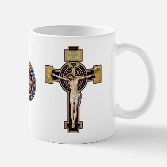 Benedictine Crucifix and Medal Mugs