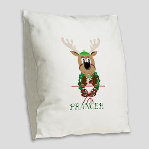 Prancer Burlap Throw Pillow