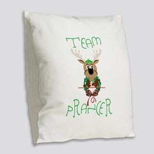 Team Prancer Burlap Throw Pillow