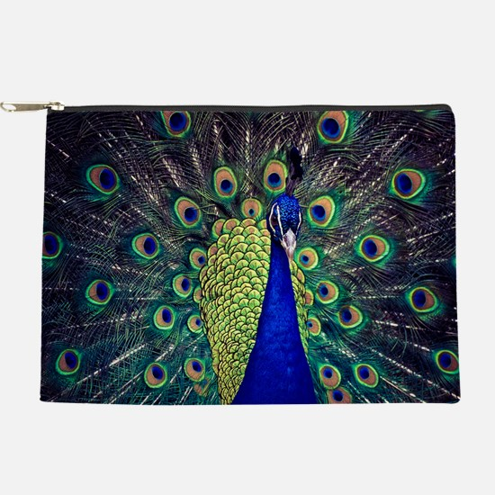 Cobalt Blue Peacock Makeup Pouch