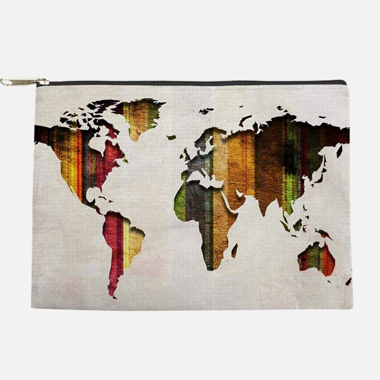 World Map Art Makeup Pouch