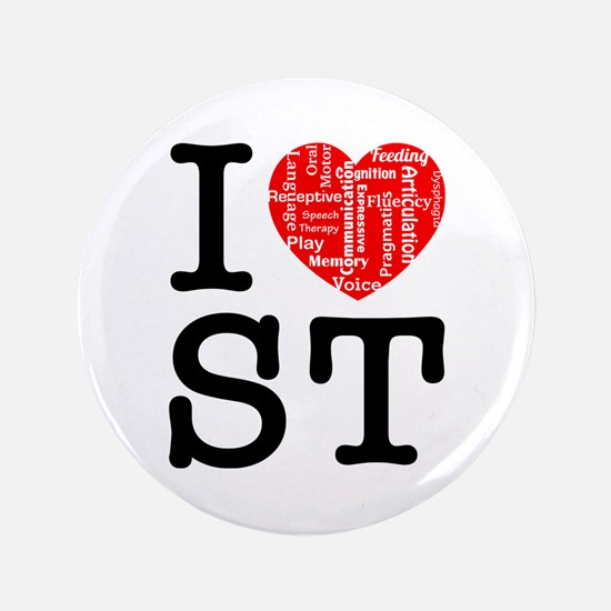 """I heart Speech Therapy 2 3.5"""" Button"""