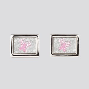 Pink Ribbon Butterfly Rectangular Cufflinks