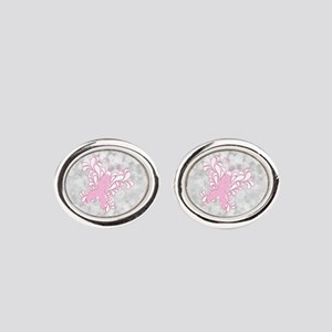 Pink Ribbon Butterfly Oval Cufflinks