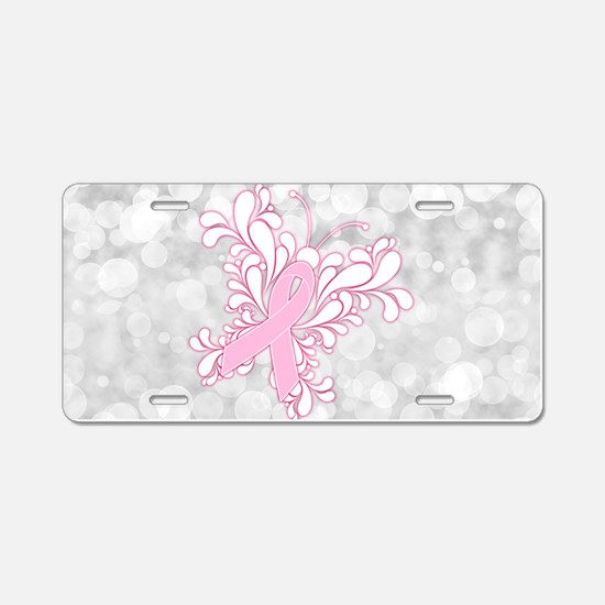Pink Ribbon Butterfly Aluminum License Plate