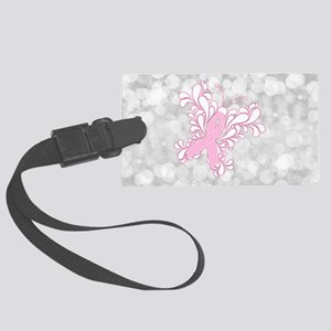 Pink Ribbon Butterfly Large Luggage Tag