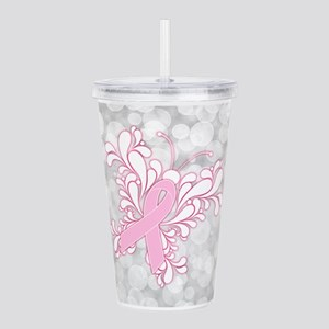 Pink Ribbon Butterfly Acrylic Double-wall Tumbler