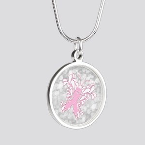 Pink Ribbon Butterfly Silver Round Necklace