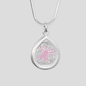 Pink Ribbon Butterfly Silver Teardrop Necklace