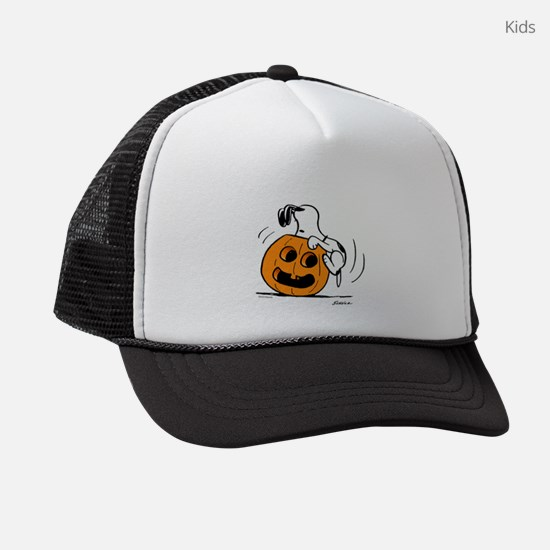 SnoopyPumpkinPW Kids Trucker hat