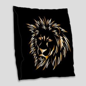 Golden lion Burlap Throw Pillow