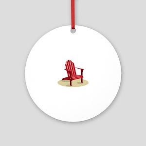Red Beach Chair Ornament (Round)