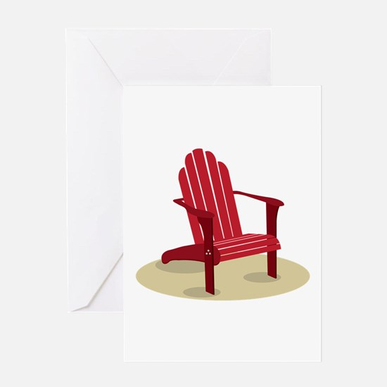 Red Beach Chair Greeting Cards