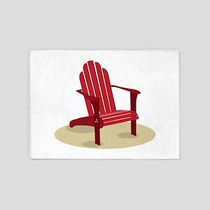 Red Beach Chair 5'x7'Area Rug