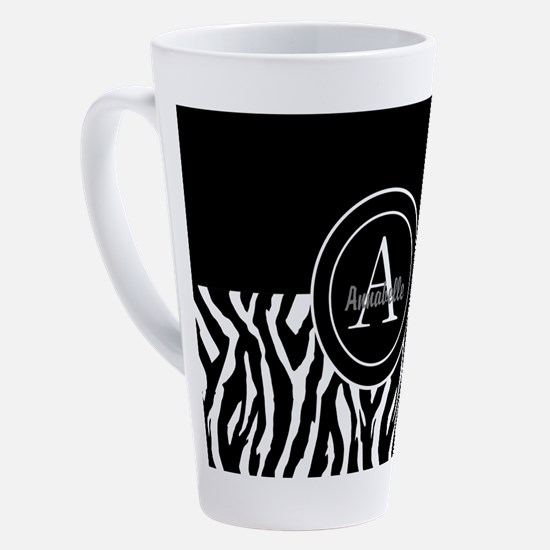 Black White Zebra Monogram Personalized 17 oz Latt