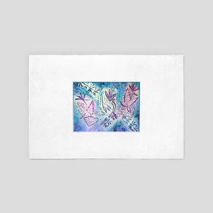 Leaves, dragonflies, blue, purple art 4' x 6' Rug