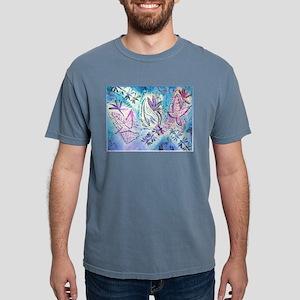Leaves, dragonflies, blue, purple art T-Shirt