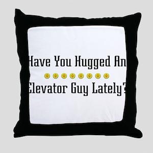 Hugged Elevator Guy Throw Pillow