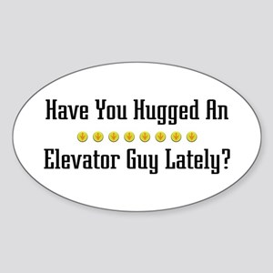 Hugged Elevator Guy Oval Sticker