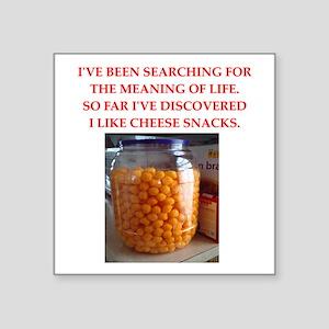 """cheese snack Square Sticker 3"""" x 3"""""""
