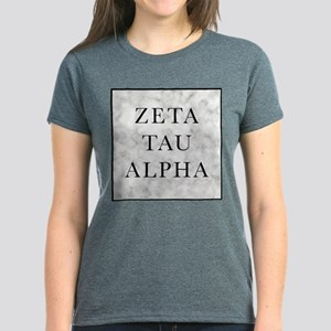 Zeta Tau Alpha Marble Square Women's Dark T-Shirt