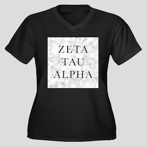 Zeta Tau Alp Women's Plus Size V-Neck Dark T-Shirt