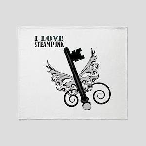 I Love Steampunk Throw Blanket