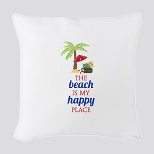 My Happy Place Woven Throw Pillow