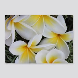Yellow and White Magnolia Flower Bl 5'x7'Area Rug