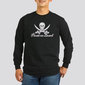 Pirate on Board Long Sleeve Dark T-Shirt