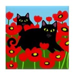 BLACK CATS POPPIES Tile Coaster