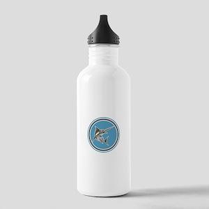Blue Marlin Fish Jumping Circle Retro Water Bottle