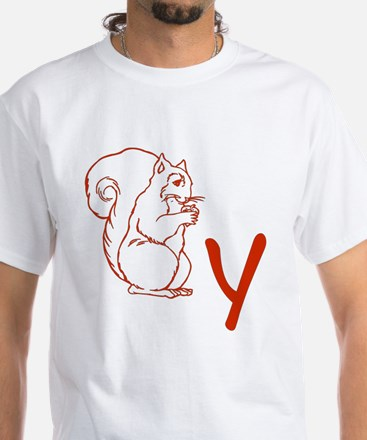 Squirrely White T-Shirt