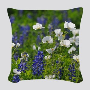 Blue and White Wildflowers Woven Throw Pillow