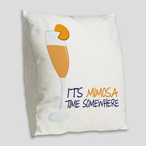 Mimosa Time Burlap Throw Pillow