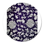 Abstract Whimsical Flowers Round Car Magnet