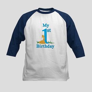 First Birthday Giraffe Kids Baseball Jersey