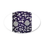 Abstract Whimsical Flowers Oval Car Magnet