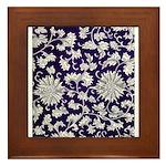 Abstract Whimsical Flowers Framed Tile