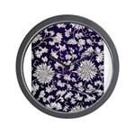 Abstract Whimsical Flowers Wall Clock