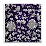Abstract Whimsical Flowers Tile Coaster