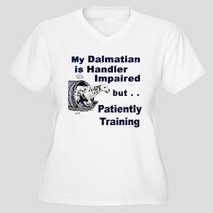 Dalmatian Agility Women's Plus Size V-Neck T-Shirt