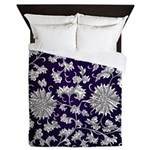 Abstract Whimsical Flowers Queen Duvet