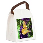 Peacock Butterfly on Purple sq Canvas Lunch Bag