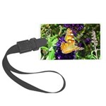 Peacock Butterfly on Purple sq Luggage Tag