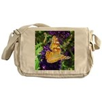 Peacock Butterfly on Purple sq Messenger Bag