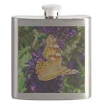 Peacock Butterfly on Purple sq Flask
